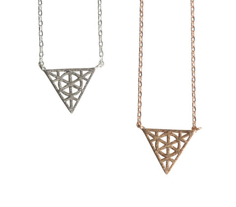 Ornate Triangle Pendant Necklace