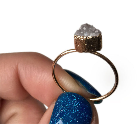 Tiny Triangle Milky Quartz Druzy Ring, Well Done Goods