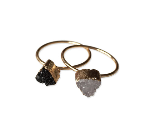Tiny Triangle Quartz Druzy Rings, Well Done Goods