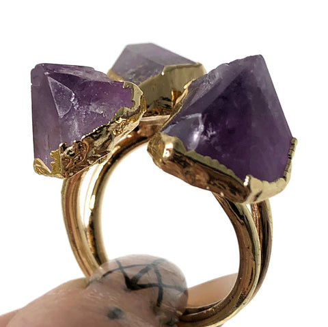 Triple Amethyst Point Raw Stone Ring, Gold Electroplate