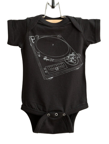 Turntable Print, Silver on Black Record Player Baby Onesie. Well Done Goods