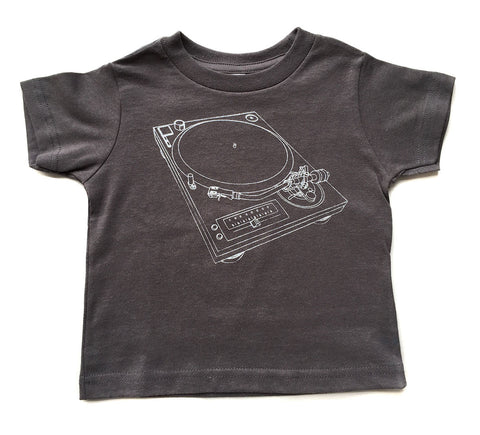 Turntable Toddler T-Shirt, silver silkscreen print on gray. Well Done Goods