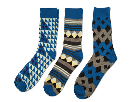 Parquet Fancy Socks, Turquoise Geometric 3-Pack, by Well Done Goods