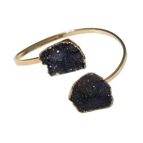 Two Stone Smoky Quartz Druzy Bracelet, by Well Done Goods