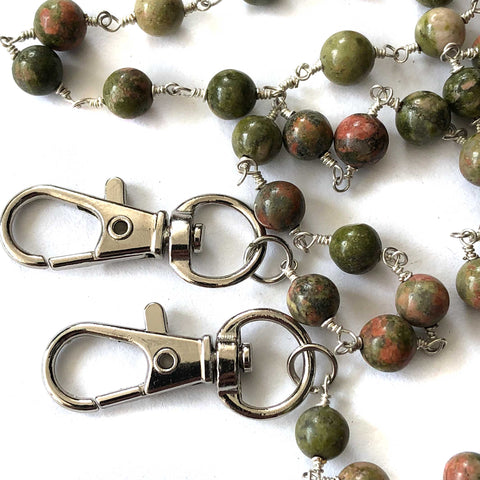 Unakite Jasper Stone Bead Mask Holder, facemask leash