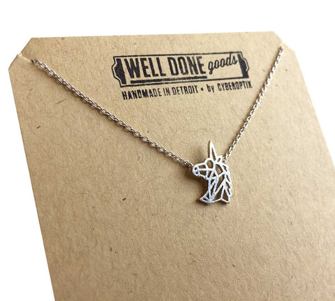 Unicorn Wireframe Necklace, silver. Well Done Goods
