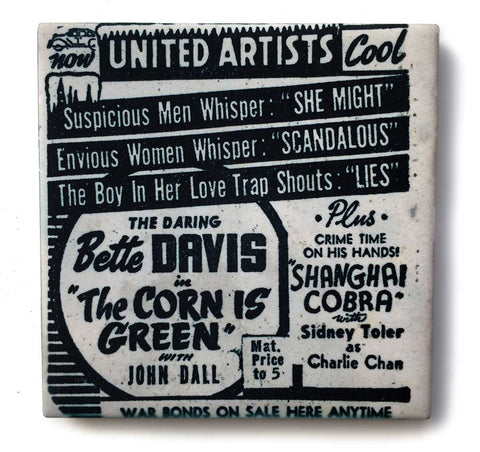 United Artists Theater Detroit, Pulp Movie Print Drink Coaster, Well Done Goods