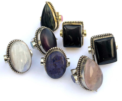 Large Vintage Adjustable Poison Rings, India
