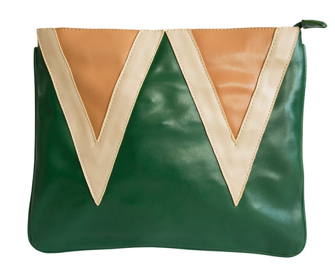 Forest Green Vintage Triangles Clutch Bag, Well Done Goods