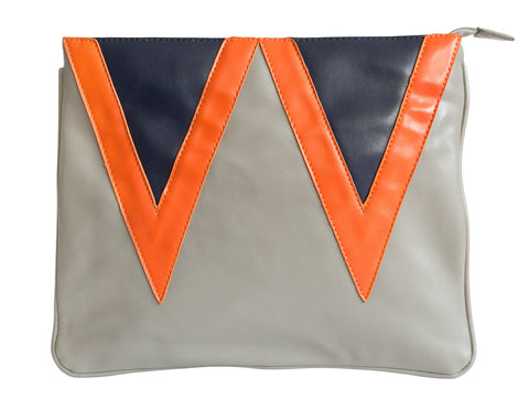 Grey Vintage Triangles Clutch Bag, Well Done Goods