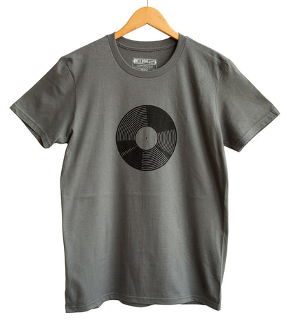 7 Inch Vinyl Record, Black on Charcoal Adult T-Shirt, Well Done Goods