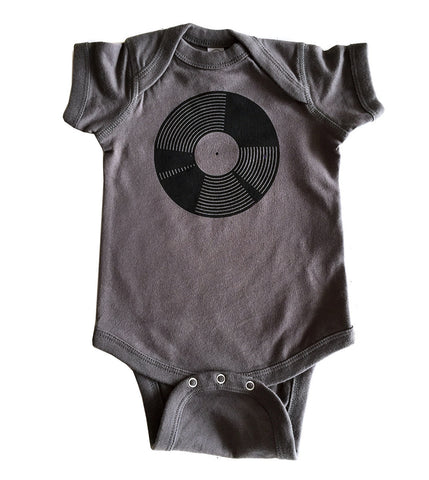 Vinyl Record Printed Baby Onesie, black on charcoal. Well Done Goods
