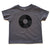 Vinyl Record Toddler T-Shirt, black on gray. Well Done Goods