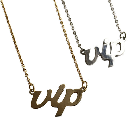 VIP Script Necklace, Music Genre Pendant, Well Done Goods