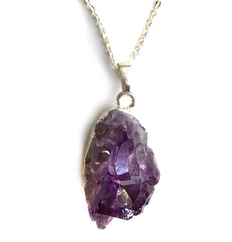 Natural Amethyst Crystal Pendant Necklace, silver chain, Well Done Goods by Cyberoptix