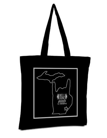 Metal Mitten Black Tote Bag, Well Done Goods