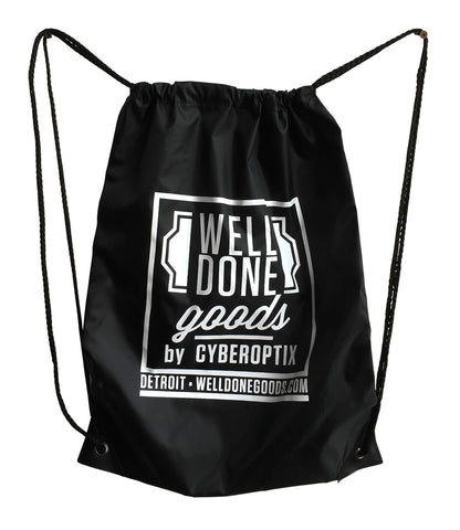 Well Done Goods Black Nylon Drawcord Bag. WDG logo
