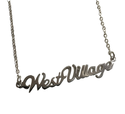 West Village Silver Script Necklace, Detroit Neighborhood Pendant, Well Done Goods