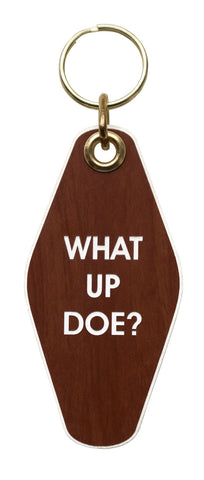 What Up Doe Motel Style Keychain Tag, Dark Woodgrain and White, by Well Done Goods