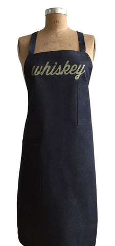 Whiskey Script Print Denim Apron