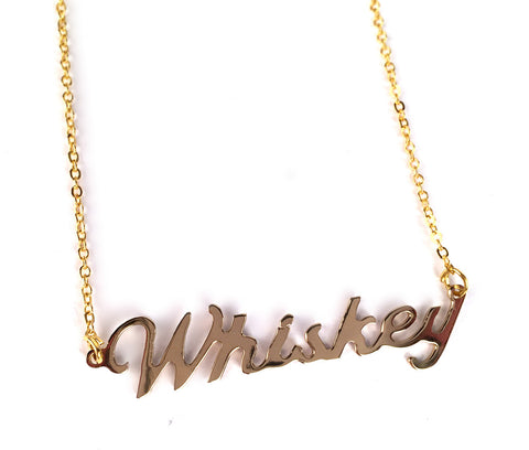Gold Whiskey Script Necklace, Tasty Vices Theme Pendant, by Well Done Goods
