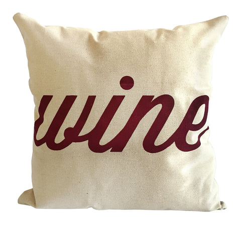 Wine Throw Pillow, Script Print