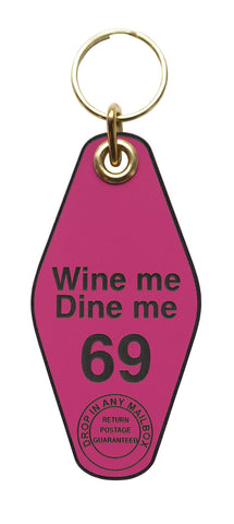 Wine Me, Dine Me Motel Style Keychain Tag, Hot Pink and Black, by Well Done Goods