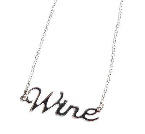 Wine Silver Script Necklace, Drink Pendant, by Well Done Goods