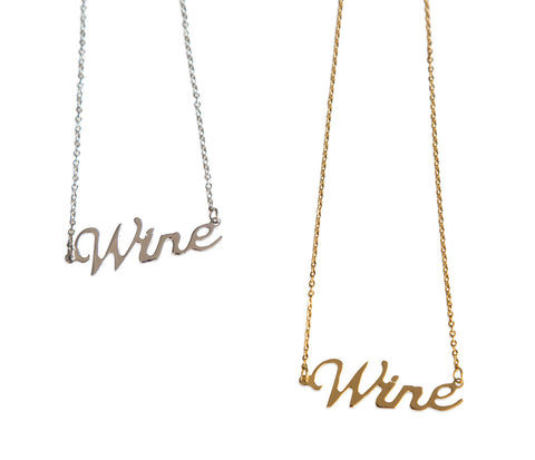Wine Script Necklace, Drink Pendant, by Well Done Goods