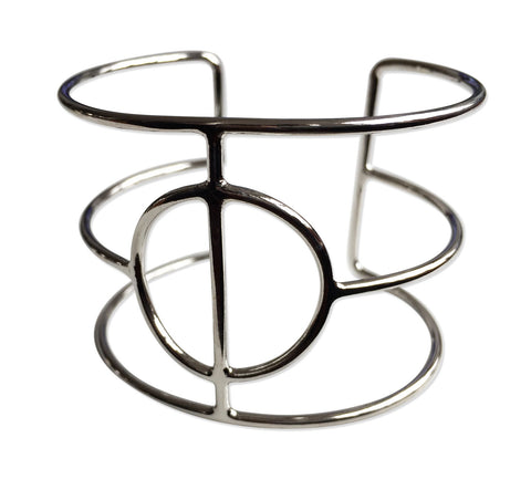 Circle & Bar Geometric Wire Cage Bracelet, Silver Tone, Well Done Goods