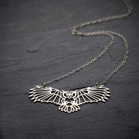 Wireframe Owl Necklace, silver. Well Done Goods