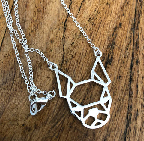 Wireframe Boston Terrier Necklace, silver.
