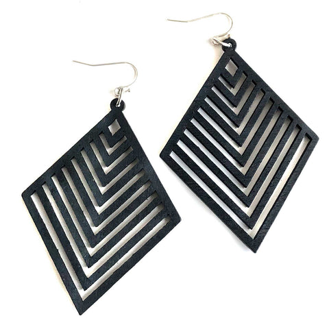 Black Diamond Chevrons, Laser Cut Wood Drop Earrings