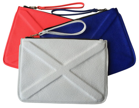 X Embossed Leather Clutch Bags, Street Level accessories, by Well Done Goods
