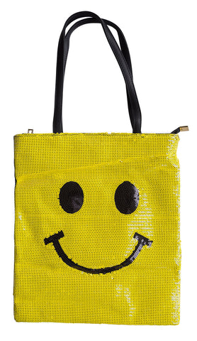 Yellow Sequin Smiley Face Tote Bag, Well Done Goods