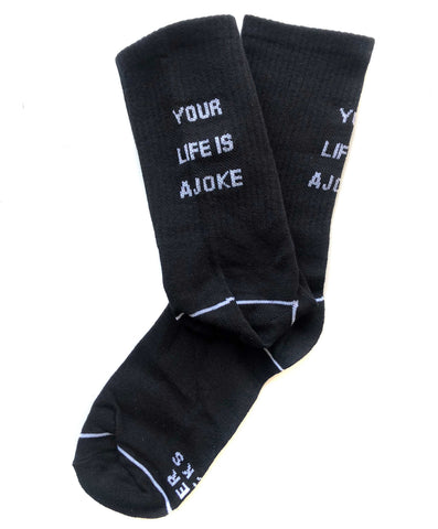 Your Life is a Joke Socks, black. By ADER error