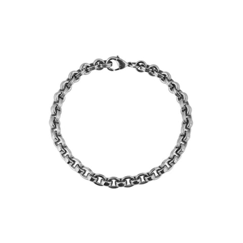 Mens stainless steel bracelet with close, interlocking links with slightly rounded edges makes for a comfortable wear, 21cm long, ref 5951.