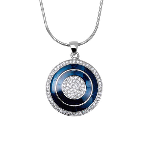 Indigo pendant is a sterling silver round pendant with blue enamel and white cubic zirconia stones.  The pendant is hung on a 40cm Giotto chain.