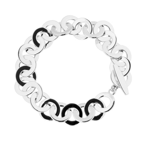 Klara bracelet has large round sterling silver flat links that are highly polished.  The links move freely.  The bracelet features an Albert clasp and is 19cm long.