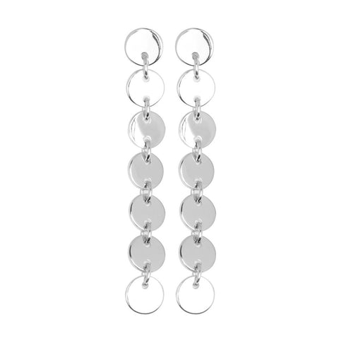 Zoe earring is a long (62mm) an elegant sterling silver earring with 7 high-polished discs. Each disc is 9mm in diameter. The top disc conceals the post and butterfly behind.