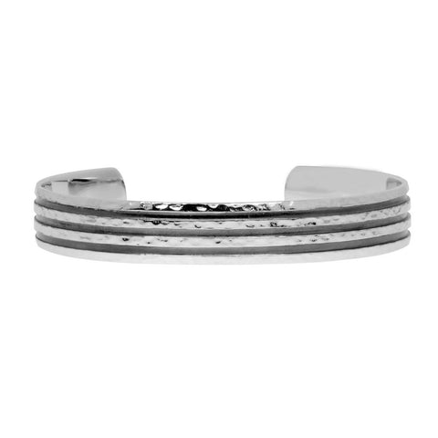 Black rhodium and a hammered finish sterling silver cuff bangle for men. Bangle is 11mm wide. Suits medium to large wrist.