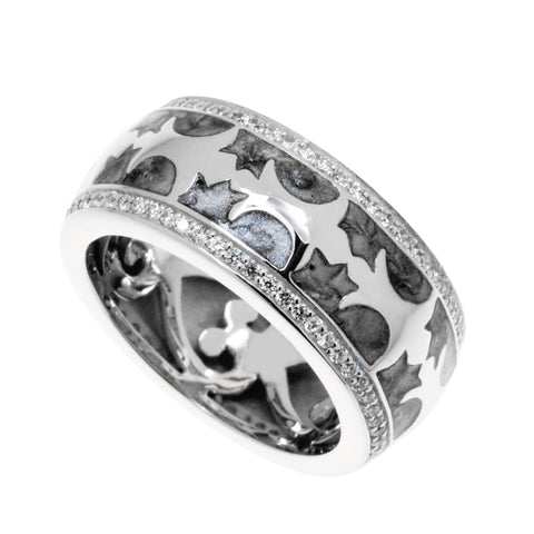 Womens sterling silver ring with silvery grey enamel and sterling silver patterning finished with an edge of white cubic zirconias, 10mm wide.