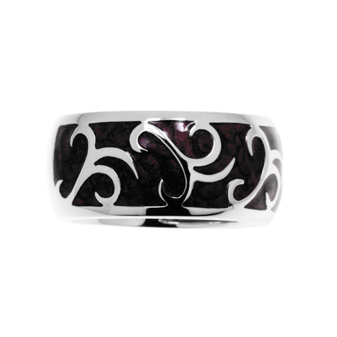 Sierra sterling silver ring with plum enamel and sterling silver patterning, 10mm wide.