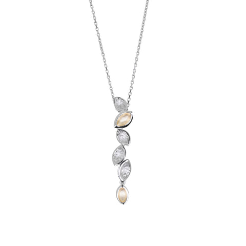 Valentina pendant in sterling silver, yellow gold, almond-shaped motifs, 42mm long.