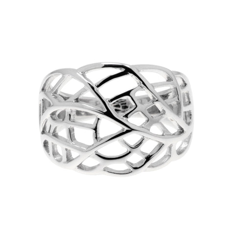 Leaf-like ring is a wide, tapered ring with a cut-out leaf pattern, 14mm wide.