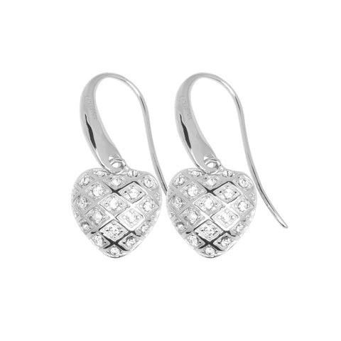 Bulbous, heart-shaped sterling silver earrings on swing hooks. Delicately detailed with silver lattice studded with white crystals, 25mm long, ref 7427.
