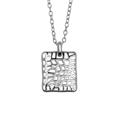 Double-sided, slightly concave sterling silver pendant 25mm wide with an open 'nest' weave front and back, hung on a long silver chain, ref 5433.