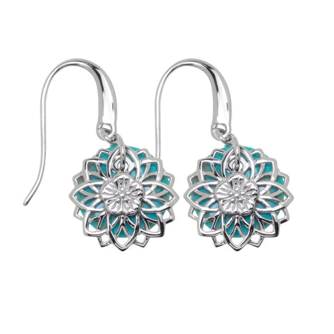 Womens sterling silver flower petals earrings layered over turquoise. The earrings are attached to a swing hook and the double layers follow your movement, 16mm in diameter, ref 5962.