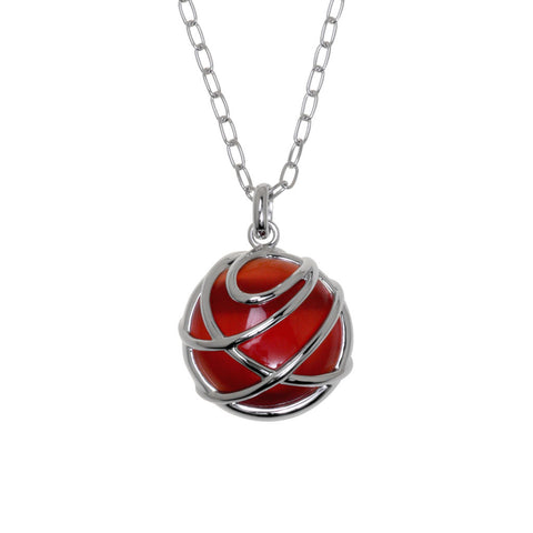 Wrapped rose pink cat's eye stone pendant with sterling silver 21mm long, on silver chain, 7496.