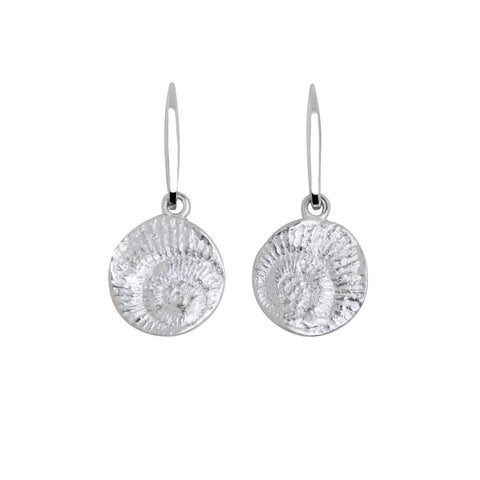 Lido sterling silver drop earring with shell fossil imprint.